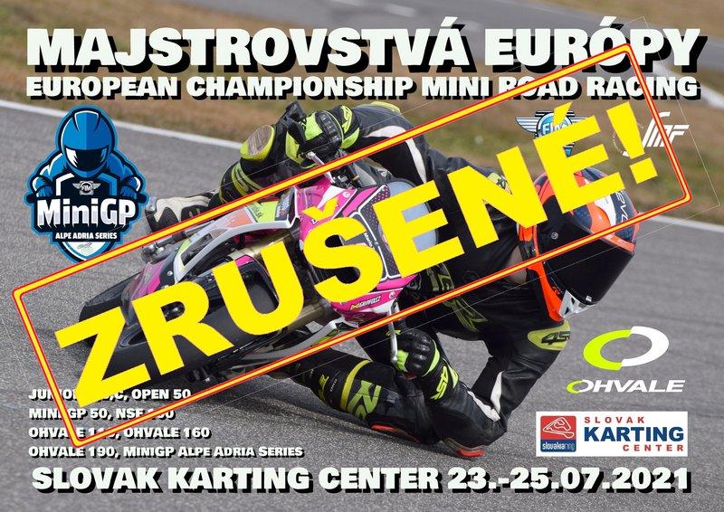 Majstrovstvá Európy mini road racing sa neuskutočnia!